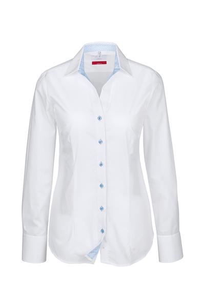 Damen-Bluse Langarm, weiss, Kontrast bleu