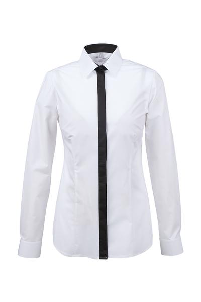 Damen-Bluse Langarm, weiss/schwarz