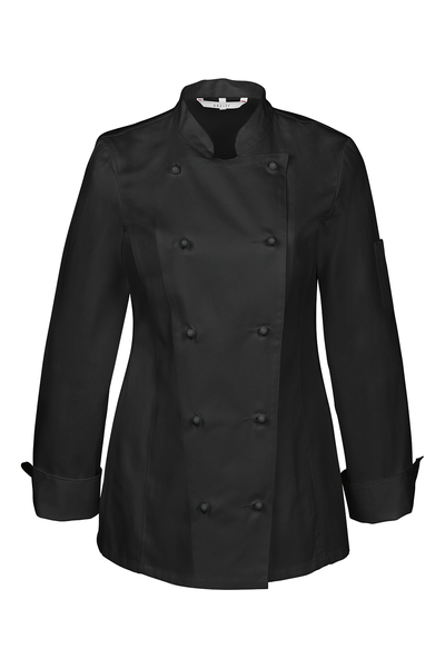 Damen-Kochjacke Langarm, schwarz