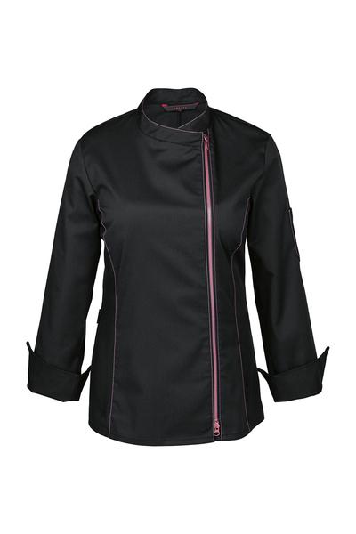 Damen-Kochjacke mit Kontrast-Reissverschluss, schwarz