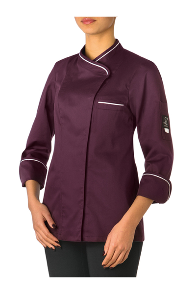 Damen-Kochjacke Langarm, violett