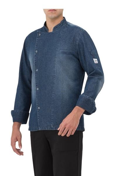 Herren-Kochjacke Langarm, blue jeans