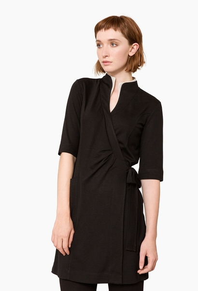 Damen-Wickelkleid, schwarz / sand
