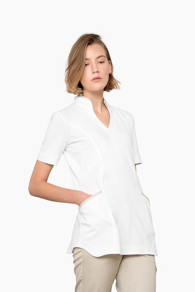 Damen-Longshirt, weiss / sand