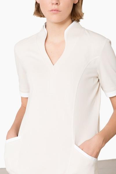 Damen-Longshirt, sand / weiss