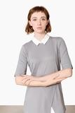 Damen-Shirt, silbergrau / weiss