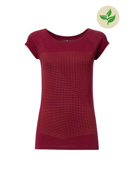 Fairtrade Print Damen-T-Shirt, saffron / ruby